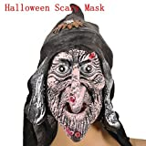 Halloween Mask Gift Costume Party Old Hag Hooded Witch Latex Scary Head Mask (Pink)