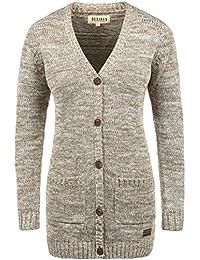 DESIRES Philemona Damen Cardigan Strickjacke Grobstrick V-Ausschnitt mit Knopfleiste aus 100% Baumwolle Meliert