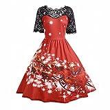 Abito Vintage,Kword Donna Natale Partito Vestire Signore Vintage Natale Swing Pizzo Principessa Vestito Abito Da Sera Elegante (Rosso, M)