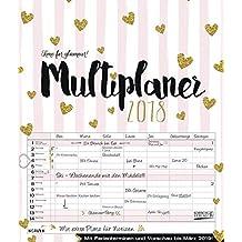 Multiplaner - Time for Glamour 2018: Typo Art Familienkalender mit 7 breiten Spalten. Hochwertiger Familienplaner mit Ferienterminen, extra Spalte, ... März 2019 und nützlichen Zusatzinformationen.