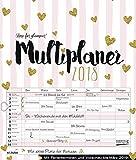 Multiplaner - Time for Glamour 2018: Typo-Art Familienplaner, 7 breite Spalten. Schöner Familienkalender mit Ferienterminen, extra Spalte, Vorschau für 2019 und Herz-Datumsschieber. Format: 40x47 cm