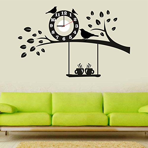 Syga Black Tree and Bird PVC Vinyl Wall Clock (35 cm x...