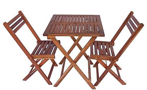 Zen Garden ZG011 Eucalyptus Wood Foldable 3-Piece Square Bistro Set, Teak Wood Finish, Teak Yellow