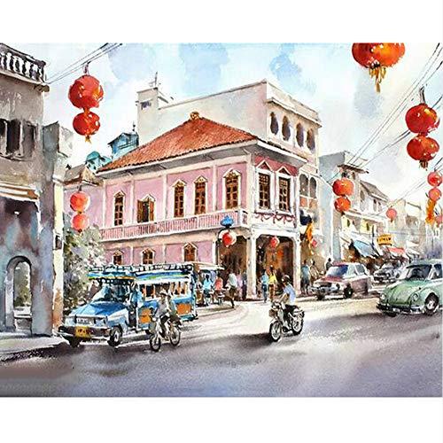 Malen Nach Zahlen DIY Chinese New Year Landschaft Bild Zeichnung Dekoration Wohnzimmer Einzigartige Geschenke Dekor Kunst ()