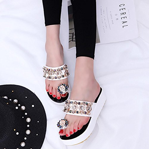 Webla Frauen Sommer Freizeit Sandalen Peep-Toe Flip Flops Thick Bottom Hausschuhe White