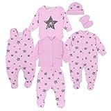 TupTam Baby Bekleidungsset Erstausstattung Sterne 7 teilig, Farbe: Graue Sterne Rosa, Größe: 56
