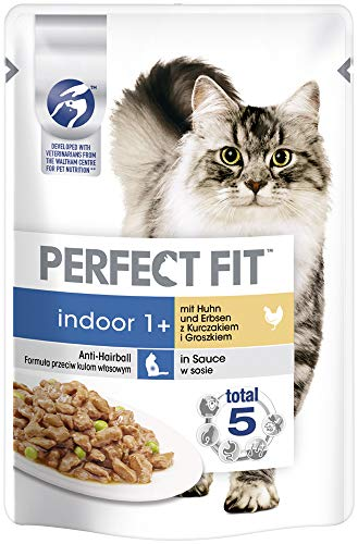 Perfect Fit Katzenfutter Nassfutter Indoor Adult 1+ mit Huhn und Erbsen in Sauce, 12 Portionsbeutel (12 x 85g)