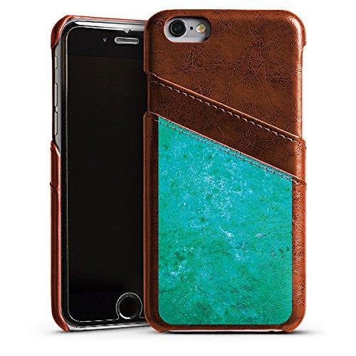 Apple iPhone 4 Housse Étui Silicone Coque Protection Rouille Structure Bleu rouille Étui en cuir marron