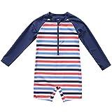 CharmLeaks Baby - Einteiler Langarm Badeanzug für Säugling Kinder Streifen UV-Schutz Dunkelblau 50+ 3-6 Monate