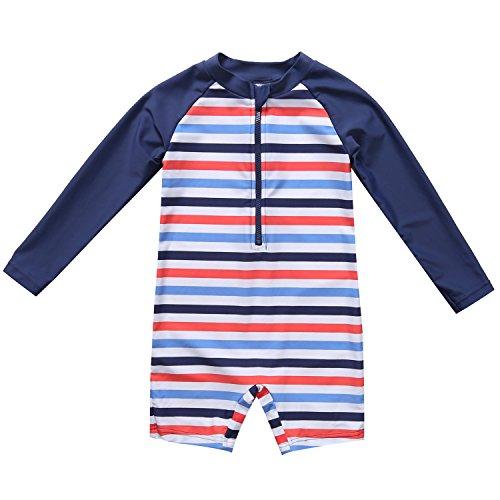 CharmLeaks Baby - Einteiler Langarm Badeanzug für Säugling Kinder Streifen UV-Schutz Dunkelblau 50+ 6-12 Monate