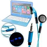 DURAGADGET Auriculares In-Ear Con Luz LED Azul Para Portátil HP Stream 14-ax003ns / Mediacom SmartBook 14 Ultra Notebook / Medion Akoya E6429 (MD 60182) , S2013 (MD 60077) , S6219 (MD 60627)- ¡Las Luces Se Mueven Al Ritmo De La Música!