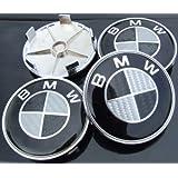 4 BMW Black Carbon Fibre Alloy Wheel Centre Caps Hub Cover Badges Emblem / 4 CENTRES ROUES CACHES JANTES BMW (68mm diamètre)