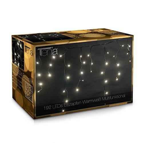 Tenia - Tenda luminosa con 192 luci a LED per interni ed esterni, per party, illuminazione giardino e di Natale, lunghezza: 4 m + 10 m di prolunga, colore: Bianco caldo (multifunzione)