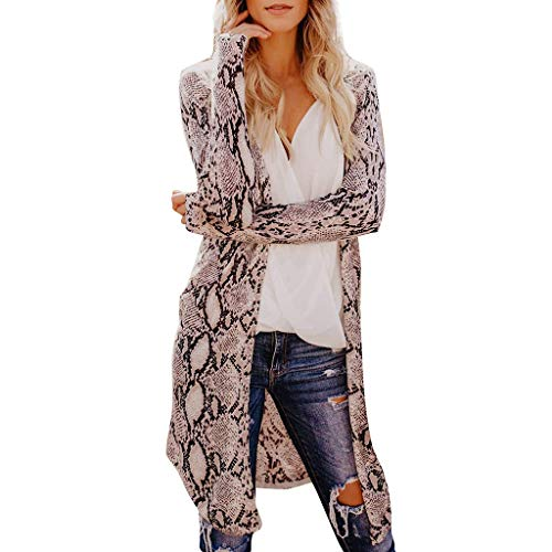 serliyFrauen Leopardenmuster Strickjacke Outwear Offenen Vorderen Langen Mantel Herbst Winter Warme Mantel Bluse Jacke Top