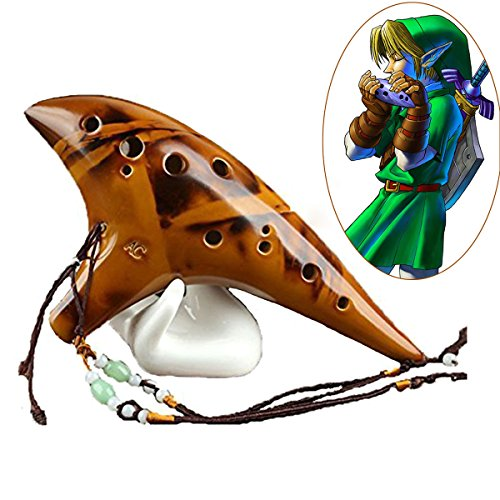 Sunandy Legend of Zelda 12-Loch-Okarina aus Keramik, Stimmlage Alt C, für Profi und Anfänger, mit Notenbuch und verstellbarem Umhängeband Retro Yellow