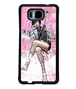 Fuson Music Girl Back Case Cover for SAMSUNG GALAXY ALPHA - D3972