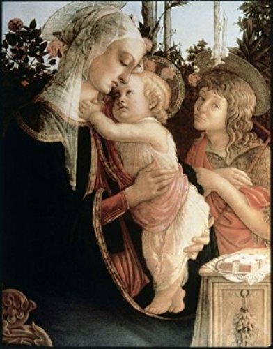 Sandro Botticelli - Madonna of the Rosegarden #2 (with St. John Baptist) 1468-9 Sandro Botticelli (1444-1510 Italian) Tempera on wood panel Musee du Louvre Paris France Poster Drucken (60,96 x 91,44 cm) -