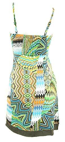 #4197 Damen Kleid knielang Sommerkleid Patchwork Sommer Tunika 36 38 40 42 44 46 48 Türkis
