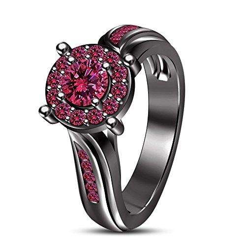 Vorra Fashion Brillantschliff rund rosa Saphir Solitaire W/Akzente Ring Schwarz rhodiniert 925Silber (Schwarz Und Rosa Saphir-ring)