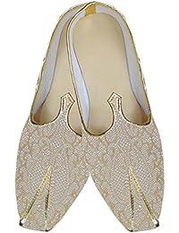 Mens Beige Jute Wedding Shoes Handmade MJ014295