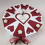 Hochzeitsgeschenk - Schachteltorte BORDEAUX-WEISS m. Herzen & Rosen - Geldgeschenk, Geschenkidee Hochzeit