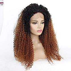 QLSGO Cosplay Frauen Brown Fluffy Roll Perücken Afro Kinky Curly Lace Front volle Perücke,Für Frauen Alltag Anime Cosplay Kostümparty Halloween Karneval 12 Zoll