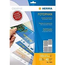 HERMA Photo Pockets for Ring Binder Albums, Acid Free, 10 x 15 cm / 4 x 6 inch Portrait Format, 40 Pockets, Clear