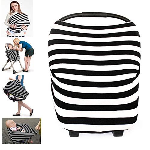 Ruiuzi Couverture d'allaitement multi-usage d'allaitement écharpe couverture mamelle tablier châle couverture pour bébé (Noir)