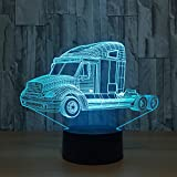 Leisurely Lazy Truck 3D Optical Illusion Lamp 7 Colors Change and 15 Keys Remote Control LED Night Light Toys for Children Kids
