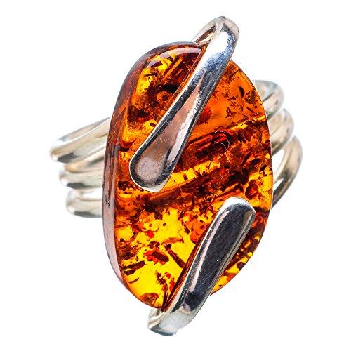 Baltic Amber, Baltischer Bernstein 925 Sterling Silber Ring 7.25 (925 Ring Bernstein Sterling Silber)
