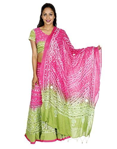 Ethnische Designs Pailletten Arbeit Baumwolle Ethnische grüne lange Lehenga Choli von Rajrang (Choli Baumwolle)