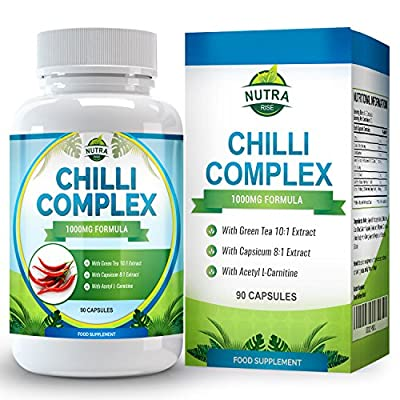 Chilli Burn Complex, Maximum Strength Fat Burner for Men & Women, Formulated with Capsaicin to Increase Metabolism So You Lose Weight Fast, All Natural Diet & Weight Loss Supplement, 90 Capsules by Nutra Rise