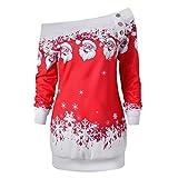 OverDose Damen Frohe Weihnachten Santa Snowflake Print Off Schulter Tops Pullover Langarm lange Bluse Shirt kleid(EU42,A-Rot)