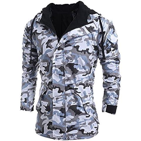 Xinantime Moda Uomo Manica lunga Cappotto con cappuccio Autunno Inverno Camuffamento (grigio, M)