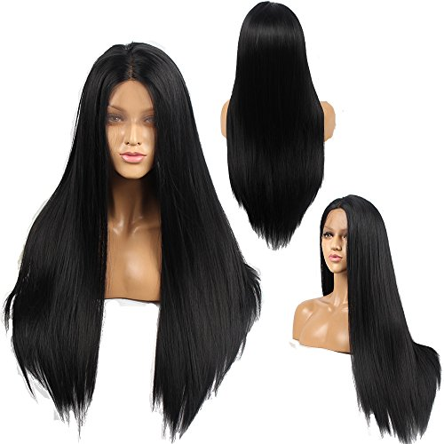 Ivan Cosmetic 250% Density Synthetic Lace Front Natutal Straight Kanekalon Fiber High Temperature Resistant Wigs With Baby Hair Pre Plucked Hairline For All Skins Women.(Black,24')