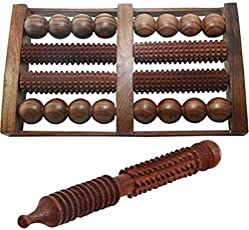 Worthy Shoppee Wooden Handicrafted Foot Roller 8 Slot with Jimmy Massager (Brown, Standard Size)