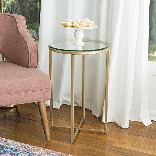 Walker Edison Möbel Round Beistelltisch, Metall, Glas/Gold, 40,6cm