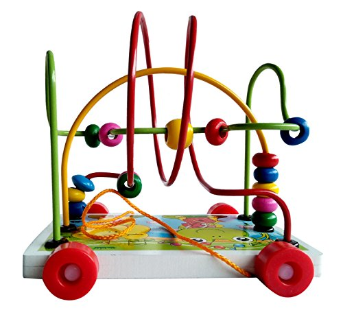 Toyshine Wooden Toys Rolling Bead Maze Toy Pull Car Roller Coaster Game Wooden Educational Toys for Toddlers, Assorted Design