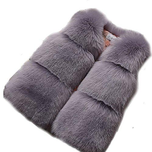 Winter Faux Pelz Weste Oberbekleidung Warm Mantel Weste Ärmellos Casual Warmer Weste Mädchen Tops Jacke Mantel/Short Weste Gilet Weihnachten Geschenk ()