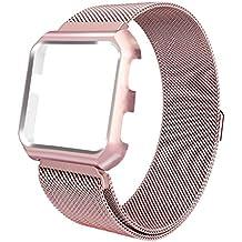 iTerk Fitbit Versa bandas con marco, Milanese Loop Acero Inoxidable Meta Reemplazo Pulsera Correa Hebilla