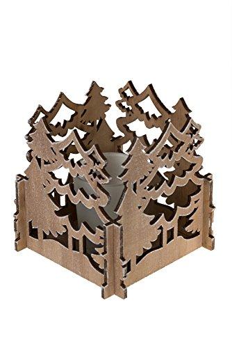 Clever Creations Kerzenhalter im Winterwald, Weihnachtsbaum-Design, langlebig, lackiertes Holz, Glas-Kerzenhalter im Used-Look, festliches Weihnachtsdeko, Maße: 10,8 x 10,8 cm -