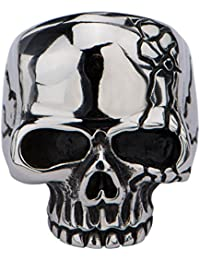Inox Jewelry Darkened Silver Stainless Steel Hallowed Jaw Cracked Skull Ring for Men