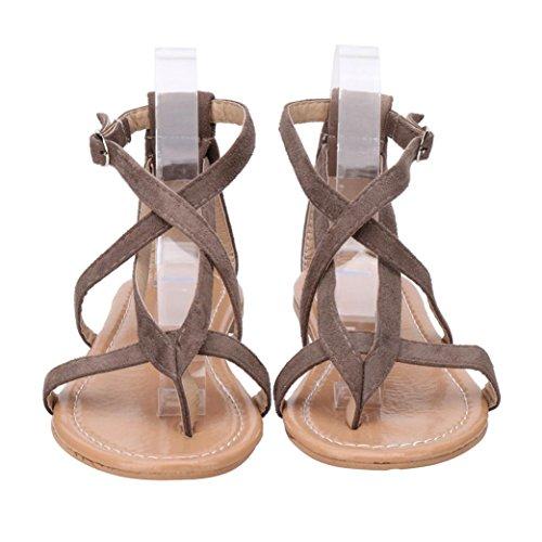 HKFV Womens Damen flache Keil Espadrille Rom binden Sandalen Sommerschuhe Plattform Römersandalen Flache Heel Sandaletten (35, Braun) (Für Frauen Schuhe Plattform Keil)