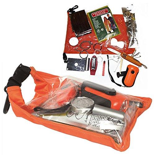 Survival Pack Zivil Orange Outdoor Notfallpackung Set Sack Dry Bag Zündstein Taschenmesser Rettungsset Signalfarbe Überleben #16902