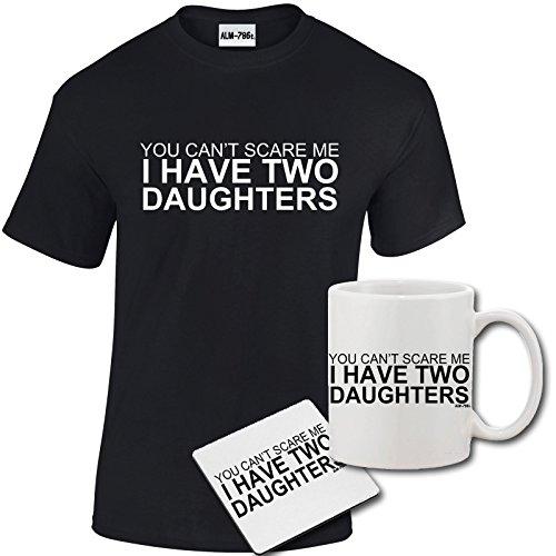 StarliteFunnyShirts Mens Funny Amusing Printed I Have Two Daughters T Shirt, Mug, Coaster Gift Set
