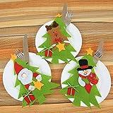 DAMENGXIANG Vaisselle Vaisselle Ensembles Cadeau de Noël Père Noël Porte-Couverts Fourchette Couteau Poche Festival de Décoration de Noël (3Pcs/Set)