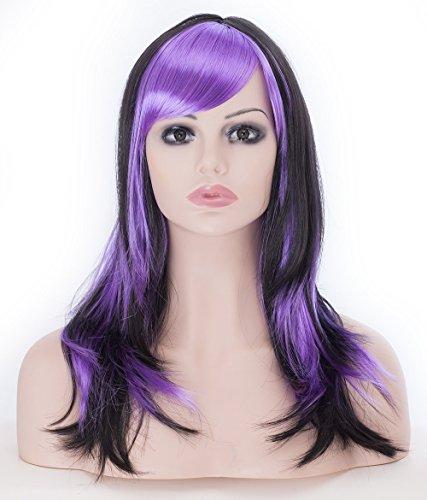 (Lange Gerade Perücken für Frauen 45,7cm schwarz und lila Haar Full Head Cosplay Party Perücken für Halloween + kostenlose Perückenkappe und Kamm)