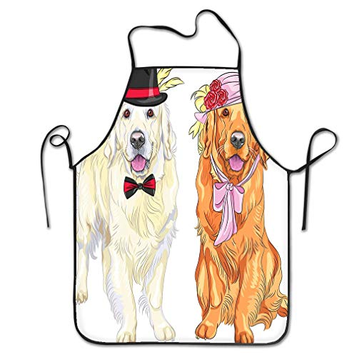 zexuandiy Aprons Bib for Kitchen Indoor Restaurant Cleaning Serving 20.4 * 28.3 inch Funny Pair Dogs Labrador Retriever Wearing Hats ti Hipster White Gentleman hat Bow tie red Lady hat