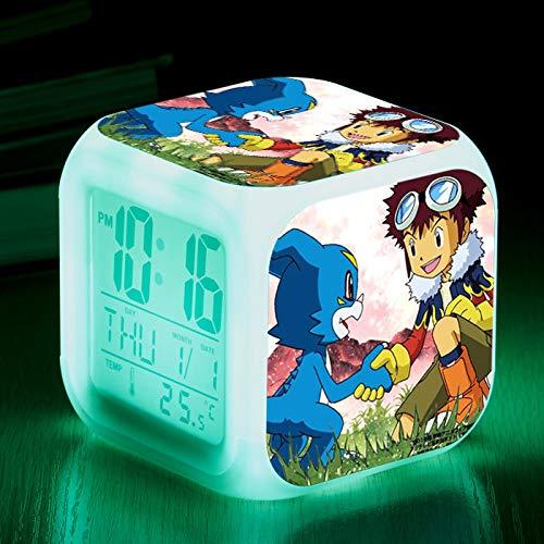 Digimon Bunte Wecker Kinder kreative quadratische Uhr LED elektronische Geschenkuhr Nachttischuhr elektronische Geschenke ()