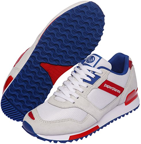 Paperplanes - 1329 Casual mixte maille Baskets Cross Trainer Rouge - White Blue Red